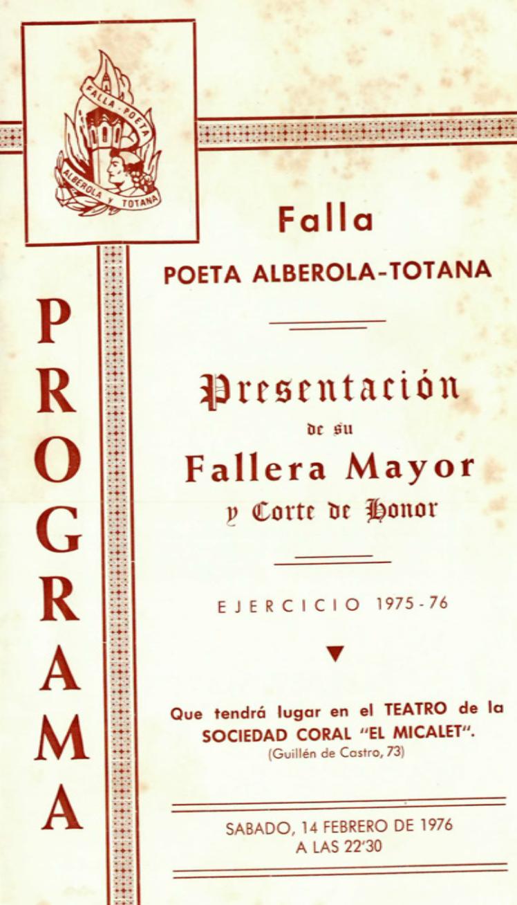 1976 Pavesos Falla Poeta Alberola Totana Teatre Micalet