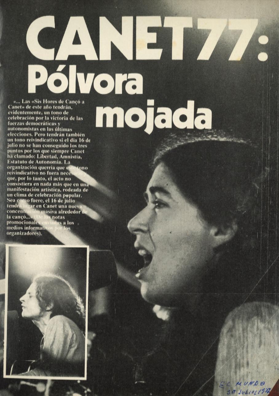1977 Pavesos Festival Canet Sis Hores de Cançò a Canet Premsa
