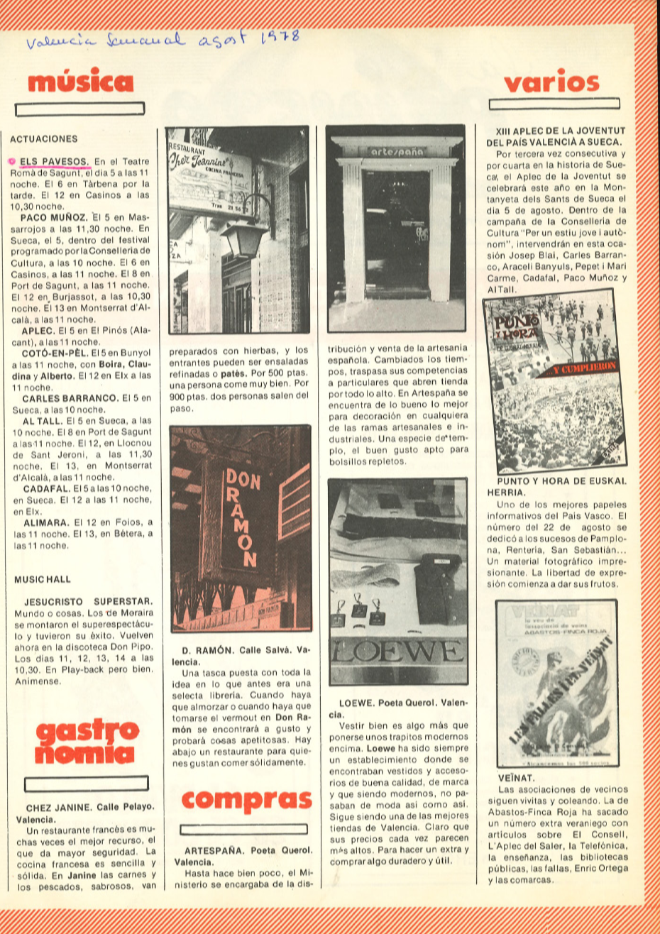 1978 Pavesos Valencia Semanal Actuacions