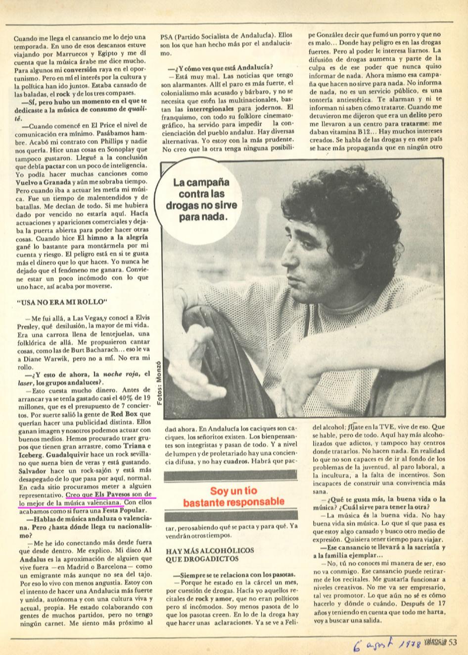1978 Pavesos Valencia Semanal Entrevista Miguel Rios