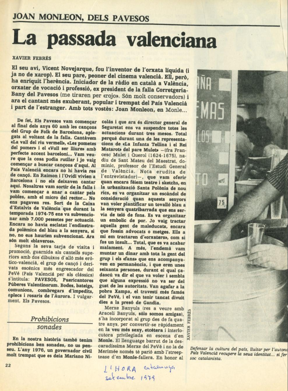 1979 Pavesos València Estambul Konstantinopolis L'Hora de Catalunya setembre
