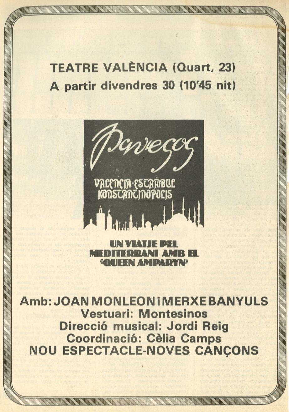 1979 Pavesos València Estambul Konstantinopolis Publicitat
