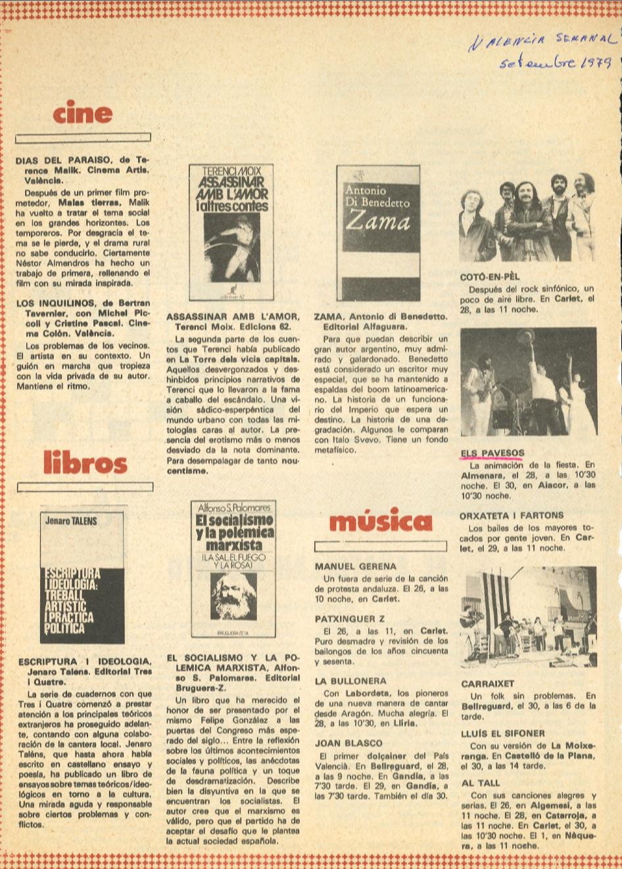 1979 Pavesos Valencia Semanal Actuacions