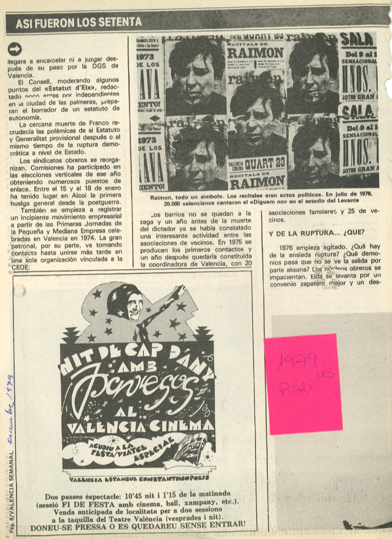 1979 Pavesos Valencia Semanal Nit de Cap d'Any al València Cinema