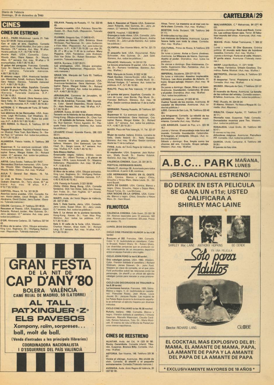 1980 Pavesos Nit de Cap d'Any a la Bolera València Diario de Valencia Publicitat