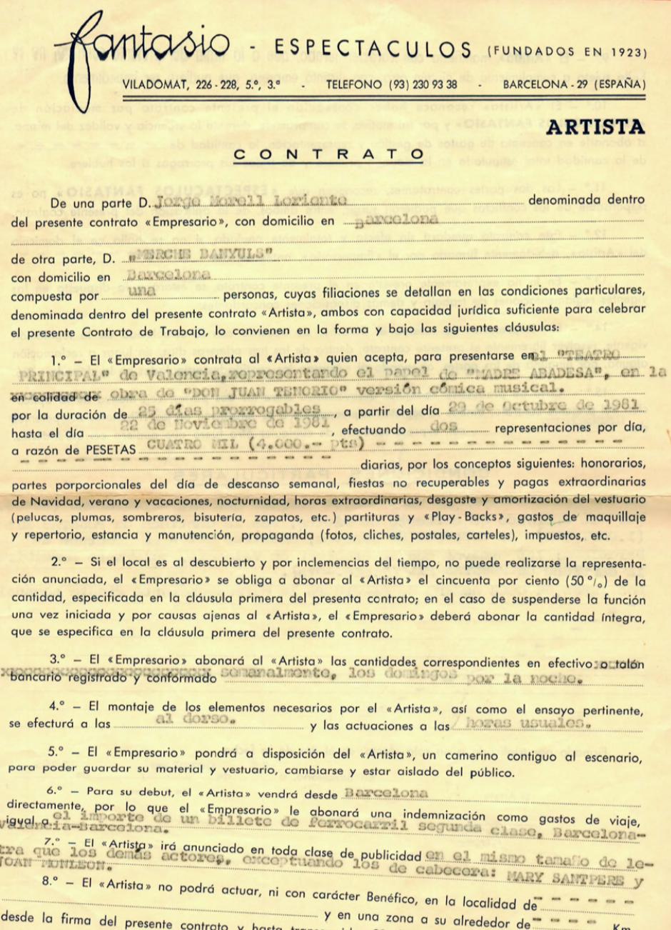 1981 Contracte D. Juan Tenorio Teatre Principal