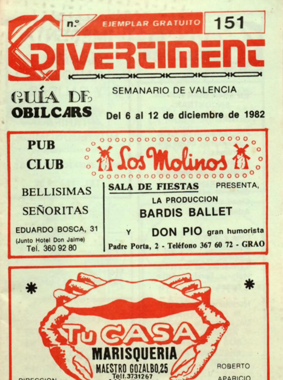 1982 Publicitat Pavesos Nou i Mig Teatre Alkázar Divertiment 6 desembre