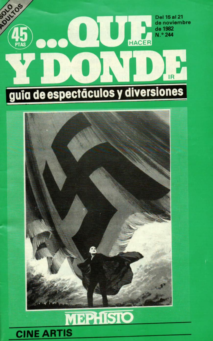 1982 Publicitat Pavesos Nou i Mig Teatre Alkázar Que y Donde 15 novembre