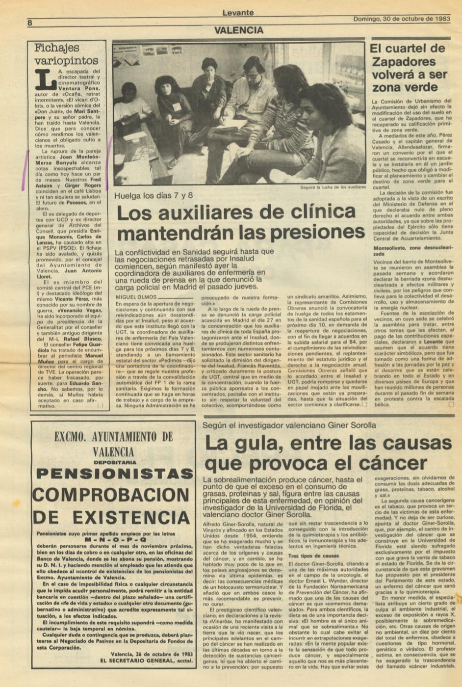 1983 Pavesos rumors ruptura Levante Noticias al día Periódico valenciano de la mañana