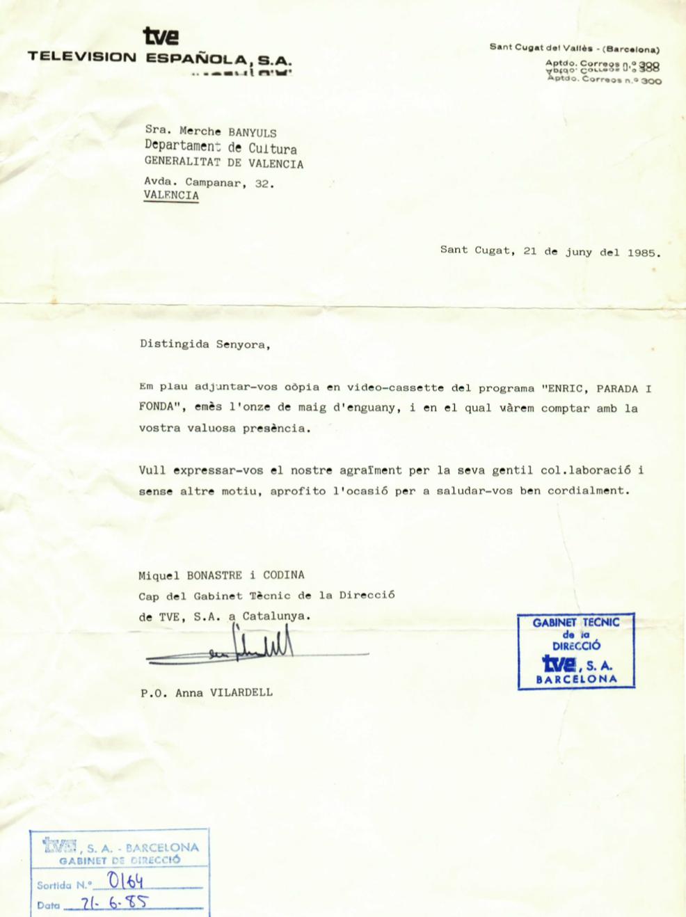 1985 Aigraïment TVE Catalunya. Programa Enric, Parada i Fonda