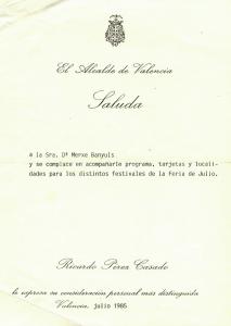 1985 Fira Juliol Saluda de l'Alcalde de València