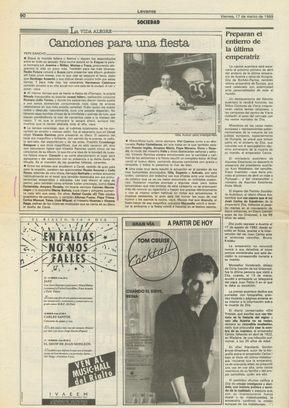 1989 Societat i Estiu Levante, Las Provincias