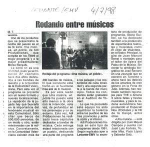 1998 Levante. Rodatge 'Una Música, un poble'