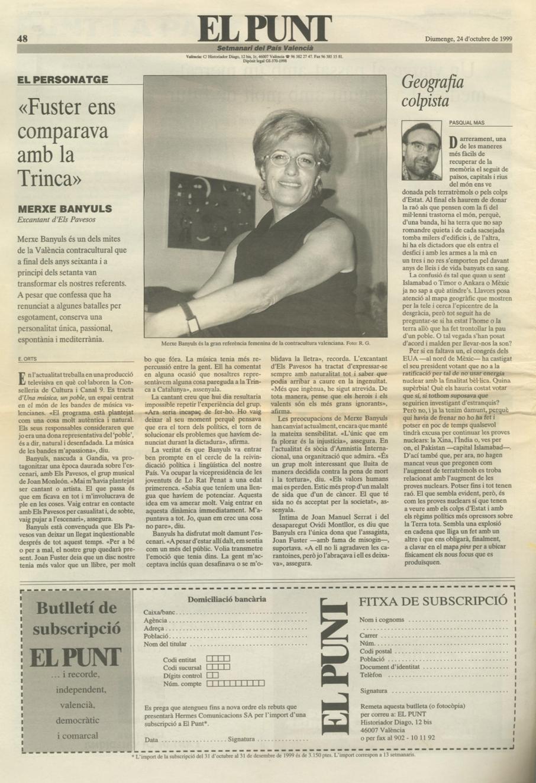1999 El Punt. Entrevista Merxe Banyuls
