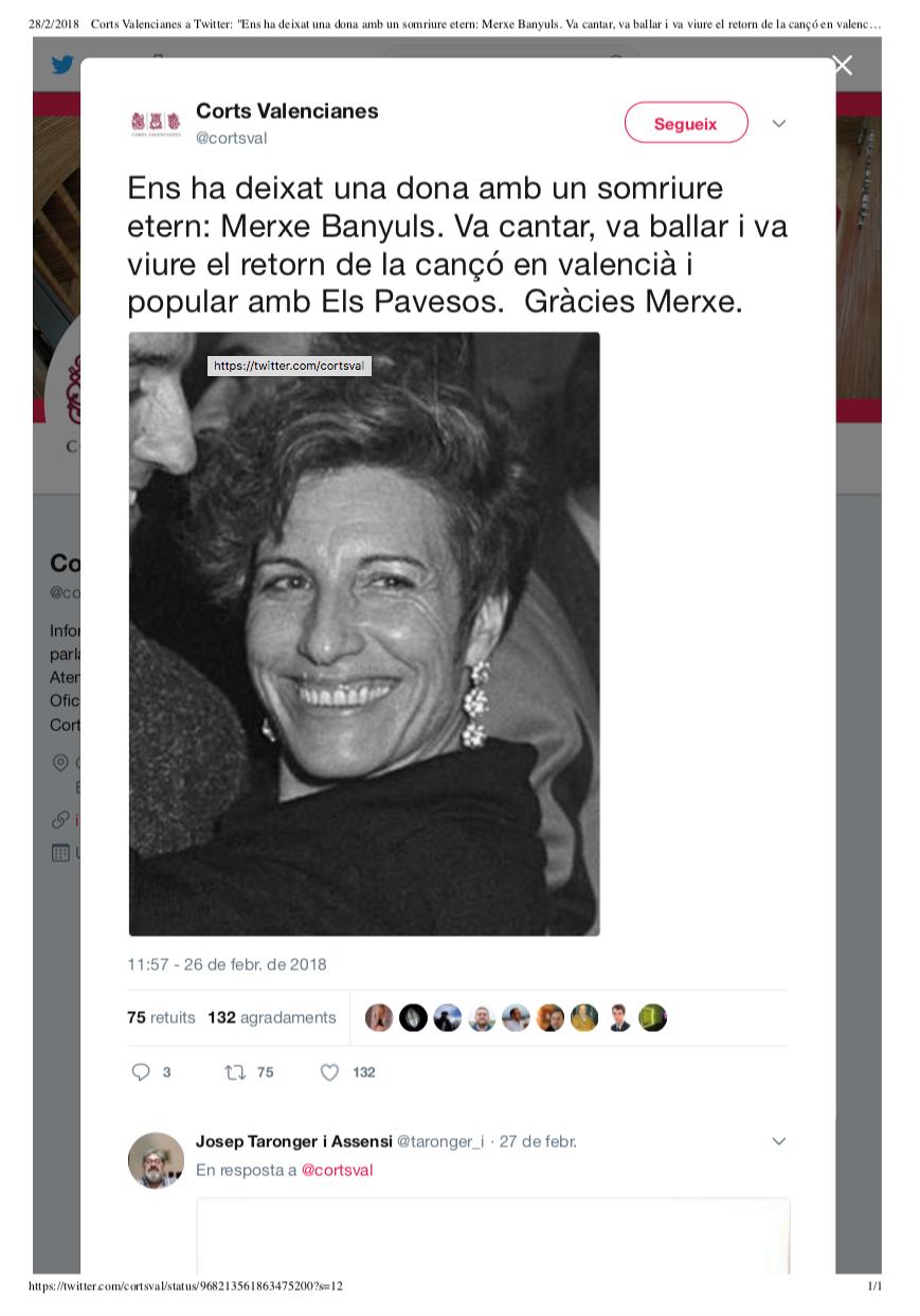 2018 Corts Valencianes a Twitter 26 febrer