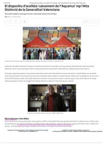 2018 Distinció al Mèrit Cultural Gva Diari ARA 5 d'octubre