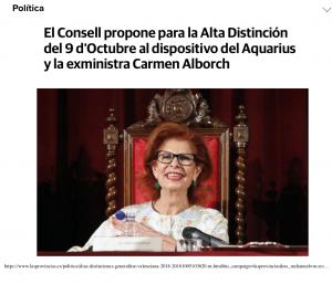 2018 Distinció al Mèrit Cultural GVA Las Provincias 5 d'octubre
